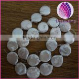 Pearl baroque, cultured freshwater (bleached), white, 14mm flat round, Mohs hardness 2-1/2 to 4.