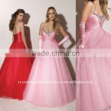 Strapless beaded appliqued tulle custom-made Quinceanera dress CWFab3616