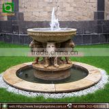 Natural Stone Water Fountain with Lion Statue