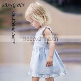 Tee Girls Pale Blue Linen Pinafore Dress with Knickers Baby Girl Party Dress Children Frocks Designs HSD7840