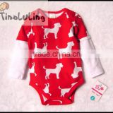 merry christmas baby girls long sleeve one piece animal rompers organic cotton bodysuits