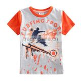 R&H cartoon print short Sleeve OEM new 2015 boys t-shirt with print or embroidery design