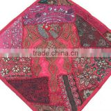Decorative Floor Pillow - Hot Pink Indian Beaded Large Sari Cushion Cover