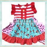 Girls party casual dresses red flutter sleeve tunic traveling clothing new fashion ladies girl short frock dress