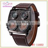 Fashion Leather Strap Men Dual Time Military Compass Thermometer Sport Quartz Wrist Watch