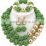 Double Rows Gold Tone Smooth Balls Crystal Beads AfricanJewelry Set