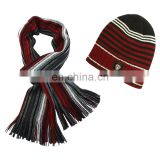 Fashion acrylic knitting pattern men knitted beanie hat and scarf with tassel set