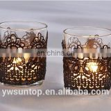 Elegant Black Lace Tea Light Holder Glass Votive Candle Holder For Wedding Baby Shower Party Decoration