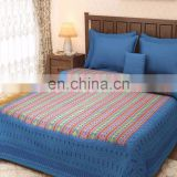 Rajasthani Turquoise Block Print Kantha Reversible Bed Cover