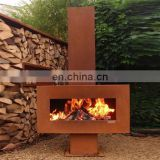 Freestanding Corten Steel Metal Outdoor Garden fireplace