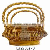 Blue Square wicker lace \ high handle wicker basket \ gardening supermarkets Ornament wicker basket