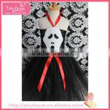 Irregular edges skeleton pattern black dress halter top gauze dress halloween costume                                                                                                         Supplier's Choice