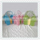 new fashional butter-fly shape decorative weaving paper rope basket patterns with handle