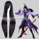 High Quality 100cm Long Straight Dark Purple Synthetic Anime Cosplay Hair Wig Party Wig