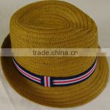 New Design Brown Paper Straw Fedora Hat For Man