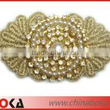 BOKA Fashion rhinstone and pearl golden embroidered appliques, beaded embroidered applique patch with golden yarn