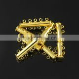 JF1263 Gold plated 2 3 4 5 strands tube slide lock clasps,necklace clasps metal slide clasps