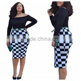F20460A European fashion women plus size dresses off shoulder long sleeve black and white checker plus size dress for fat women                                                                                                         Supplier's Choice