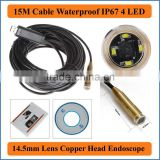 15M USB Cable Length Copper head Endoscope Waterproof Mini USB Endoscope Inspection Camera Borescope Tube Snake Scope 4 LEDs