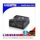 HDMI 2x1 Bi-directional Switch with 2 LED and Display Working Port