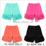 Popular Fashion casual multicolor pretty baby girls shorts cotton ruffle baby icing ruffle shorts