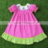 Beautiful owl smocked bishop dress for little girl on Halloween day Halloween smocked dresses