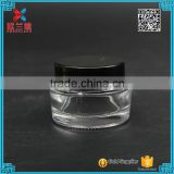 25ml clear cream packaging with black caps glass cosmetic jars
