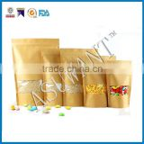 loose leaf tea paper zip lock packaging bag with clear windows/brown kraft paper stand up bag for tea