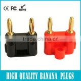 Brass banana connector for Amplifiers & Speakers - 10 Pack (5 Black + 5 Red)