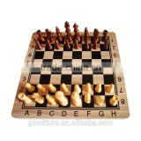 Black And White Grids With Alphabets Printed Wooden Folding Chess Set With King Height 2.5 Inch