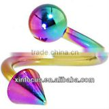Rainbow Anodized Titanium Spiral Twister Ball-Cone Belly Ring 14 Gauge Titanium Belly Ring Body Jewelry