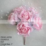 High quality Colorful Artificial Silk Flowers Rose with glitter Wedding Bridal Bouquet wedding flowers