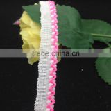 puffball fringe gimp edging braid white pink lace trims