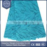 2016 teal blue pure embellished stones lace african cuipion lace fabric leaf pattern texture cord lace fabric