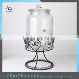 High Quality Glass Demijohn Mason Jar Drink Dispenser Clear Glass Beverage Dispenser With Metal Stand Tap