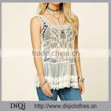 2017 Women Sleeveless Sheer Mesh With Ornate Embroidery, Scalloped Hem Scoop Neckline Back Casual Blouse Designs