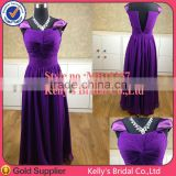 Generous cap sleeves dark purple bridesmaid dress 2015 chiffon maxi evening long dress for muslim women guangdong factory made
