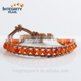 6mm natural genuine agate red stone bracelet, handmade leather bracelet designs, woven leather bracelet