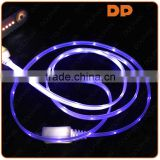 new premium 5 pin micro USB charging cable visible flashing light LED usb cable for huawei p9