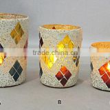Hurrycane Candle Holder, Mosaic Votive Centerpiece,MOSAIC GLASS CANDLE VOTIVE/ DESIGNER HANDMADE GLASS /HOME DECOR/SET OF 3