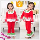 wholesale 2015 new baby outfit with ruffle, christmas outfits for kids