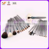 22pcs Real Hair Nylon Hair Matt Black Wood Handle Professional Makeup Brushes Set