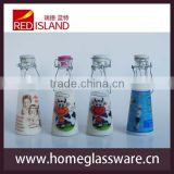 sealed glass milk bottle with the ceramic lid and wire clip