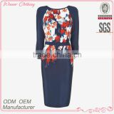 Ladies' silk flower print half sleeves slim with belt good quality and dress manufacturer dress names