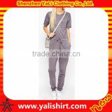 Custom made best quality soft short sleeve polyester/spandex chest pocket drawstring waist plain adult onesie/jumpsuits