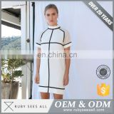 Quality Guaranteed rock and roll style white and black stripe T-shirt Dress ropa mujer Dress