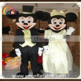 Fashion mickey&minnie mascot costume, wedding suit fancy dress costume for adult