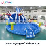 penguin shape inflatable slide with big pool for rent on land