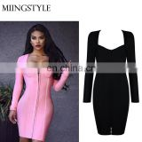 2017 Hot Sales lady evening Cocktail dresses bodycon tight women clothing wholesale sexy bandage dress