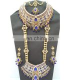 Beautiful Indian Style Colorful Blue Pearl & Gold Raani Necklace with Earring Tikka